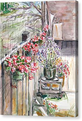 Canvas Print featuring the painting Spring Flowers by Becky Kim