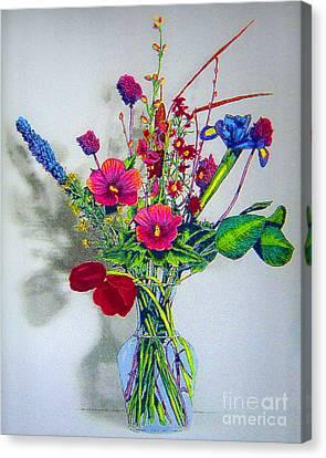 Spring Flowers In Glass Vase Canvas Print by Merton Allen