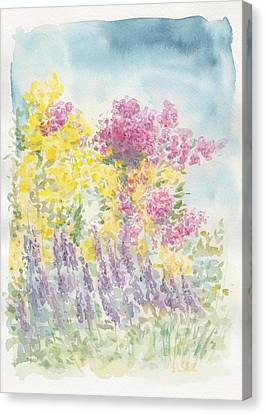 Canvas Print featuring the painting Spring Garden by Jane  See