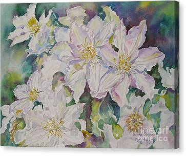 Canvas Print featuring the painting Spring Morning by Mary Haley-Rocks