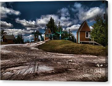 Spring Skiing Canvas Print by Adam Jewell