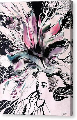 Canvas Print featuring the painting Spring by Valentina Plishchina