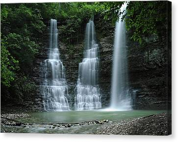 Canvas Print featuring the photograph Springtime At Triple Falls by Renee Hardison