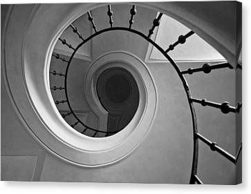 Spriral Staircase Up At Cathedral Of Our Lady In Kutna Hora Canvas Print by Les Abeyta