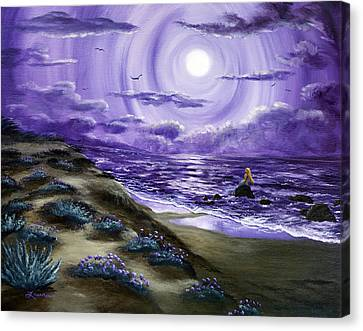 Spying A Mermaid From Flowering Sand Dunes Canvas Print by Laura Iverson