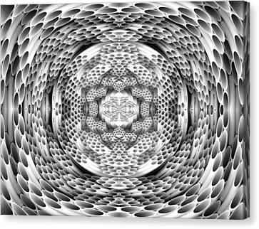 Square To Oval Abstract Bw Canvas Print by Linda Phelps