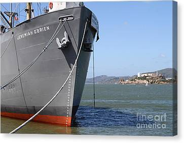 Alcatraz Canvas Print - Ss Jeremiah Obrien Liberty Ship At Fishermans Wharf With Alcatraz In The Distance . Sf Ca . 7d14437 by Wingsdomain Art and Photography
