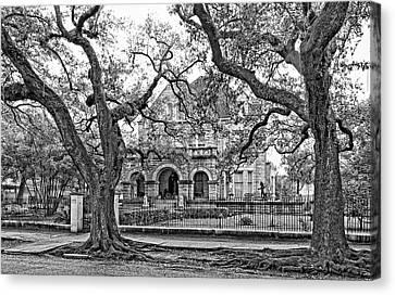 St. Charles Ave. Mansion Monochrome Canvas Print by Steve Harrington