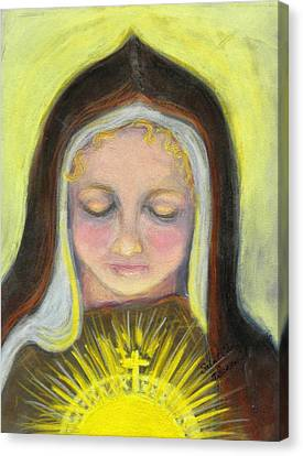 St. Clare Of Assisi All Aglow Canvas Print by Susan  Clark