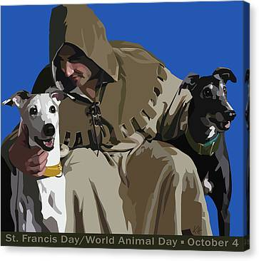 Greyhound Canvas Print - St. Francis With Two Greyhounds by Kris Hackleman