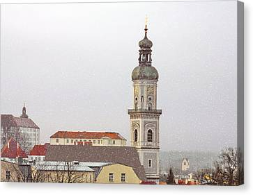 St. George In Snow - Freising Bavaria Germany Canvas Print