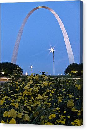 Canvas Print featuring the photograph St Louis Arch With Twinkles by Nancy De Flon