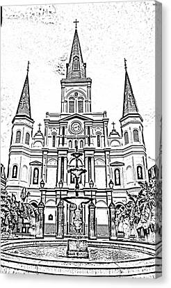 St Louis Cathedral And Fountain Jackson Square French Quarter New Orleans Photocopy Digital Art Canvas Print by Shawn O'Brien