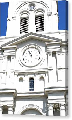 St Louis Cathedral Clock Jackson Square French Quarter New Orleans Diffuse Glow Digital Art Canvas Print by Shawn O'Brien
