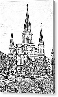 St Louis Cathedral Jackson Square French Quarter New Orleans Photocopy Digital Art  Canvas Print by Shawn O'Brien