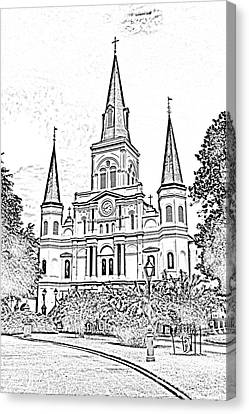 St Louis Cathedral Jackson Square French Quarter New Orleans Photocopy Digital Canvas Print by Shawn O'Brien