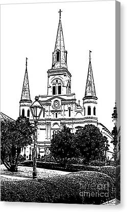 St Louis Cathedral Jackson Square French Quarter New Orleans Stamp Digital Art  Canvas Print by Shawn O'Brien