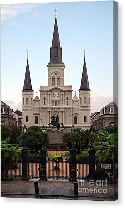 St Louis Cathedral On Jackson Square In The French Quarter New Orleans Canvas Print