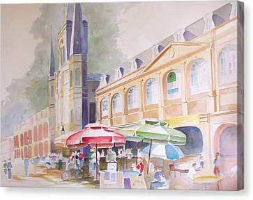 Canvas Print featuring the painting St. Louis Cathedral by Richard Willows