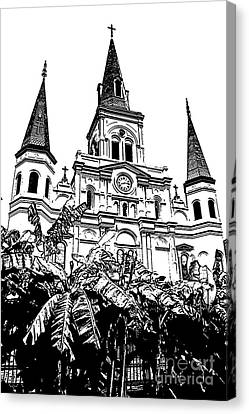 St Louis Cathedral Rising Above Palms Jackson Square New Orleans Stamp Digital Art Canvas Print by Shawn O'Brien