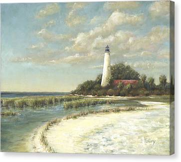 Canvas Print featuring the painting St Marks Light by Pam Talley