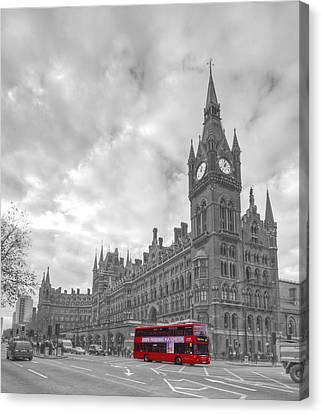 St Pancras Station Bw Canvas Print