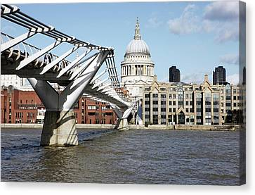 City Of Bridges Canvas Print - St Paul's Cathedral And Millennium Bridge by Richard Newstead