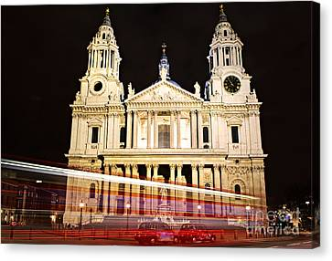 St. Paul's Cathedral In London At Night Canvas Print by Elena Elisseeva