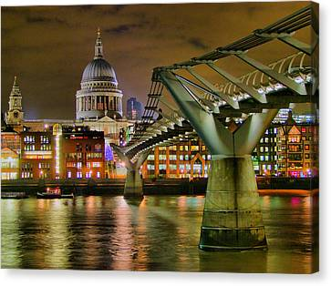 St Pauls Catherderal And Millennium Footbridge - Night - Hdr Canvas Print by Colin J Williams Photography