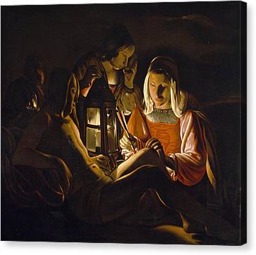 St. Sebastian Tended By Irene Canvas Print by Georges de la Tour