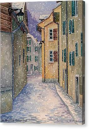 Scott Nelson Canvas Print - St Ursanne In Snow by Scott Nelson