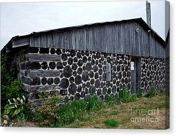 Canvas Print featuring the photograph Stacked Block Barn by Barbara McMahon