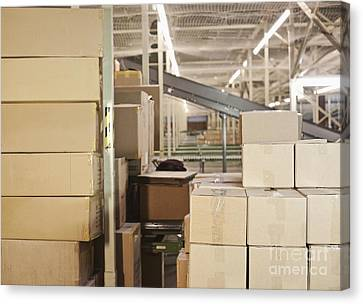 Stacked Cardboard Boxes Canvas Print by Jetta Productions, Inc