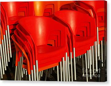 Empty Chairs Canvas Print - Stacked Chairs by Carlos Caetano