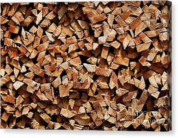 Canvas Print featuring the photograph Stacked Cord Wood by Charles Lupica