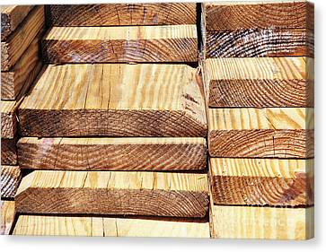 Stacked Wooden Planks Canvas Print by Skip Nall