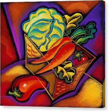 Staff For Yummy Salad Canvas Print by Leon Zernitsky