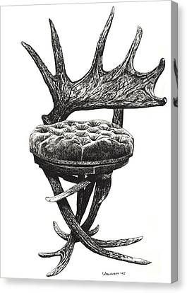 Stag Antlers Chair Canvas Print by Adendorff Design