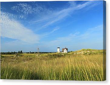 Chatham Canvas Print - Stage Harbor Lighthouse Beach Grasses Cape Cod Chatham by John Burk