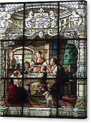 Stained Glass Family Giving Thanks Canvas Print by Sally Weigand