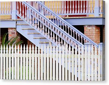 Stairs And White Picket Fence Canvas Print by Jeremy Woodhouse