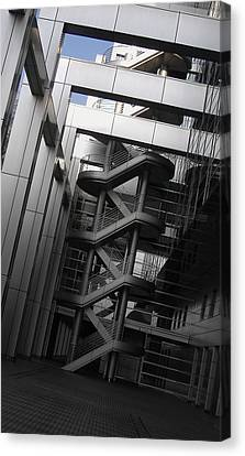 Stairs Fuji Building Canvas Print by Naxart Studio