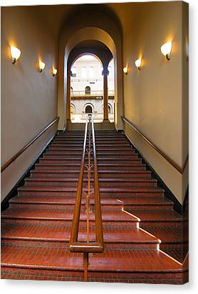 Stairway To Balcony Canvas Print by Steven Ainsworth