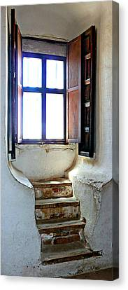 Stairway To The Outside Canvas Print by Jo Sheehan