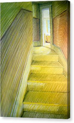 Stairwell In Malden Apartment 1978 Canvas Print by Nancy Griswold