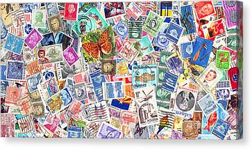 Stamp Collection . 2 To 1 Proportion Canvas Print by Wingsdomain Art and Photography