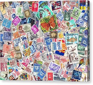 Kitschy Canvas Print - Stamp Collection . 8 To 10 Proportion by Wingsdomain Art and Photography