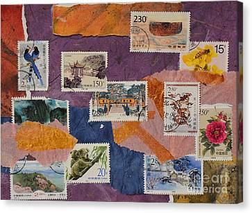 Stamps From China Canvas Print by Barbara Tibbets