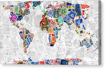Stamps Of The World Map . V2 Canvas Print by Wingsdomain Art and Photography