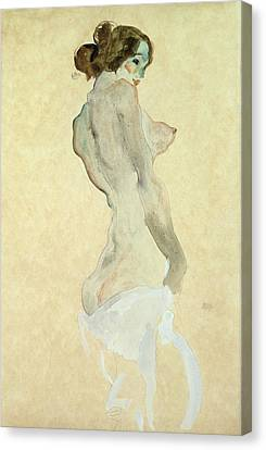 Standing Female Nude Canvas Print by Egon Schiele